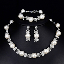 Simulated Pearl Bridal Jewelry Sets Silver Color Wedding Necklace Earrings Bracelets Sets Party Jewelry Wedding Gifts недорого