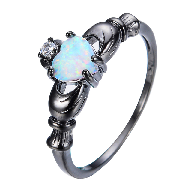 Fashion White Fire Opal Claddagh Finger Rings For Women Black Gold Filled Jewelry Party Wedding Heart Style Ring RB0565