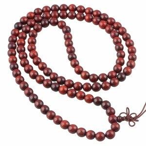 Image 2 - TUMBEELLUWA 8 ملليمتر الدم خشب الصندل سوار قلادة 108 البوذية التبتية مالا سبحة صلاة