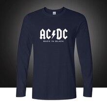 Мужская с длинным рукавом ACDC печатная Футболка мужская хлопковая свободная одежда рок музыка Австралия AC DC размера плюс