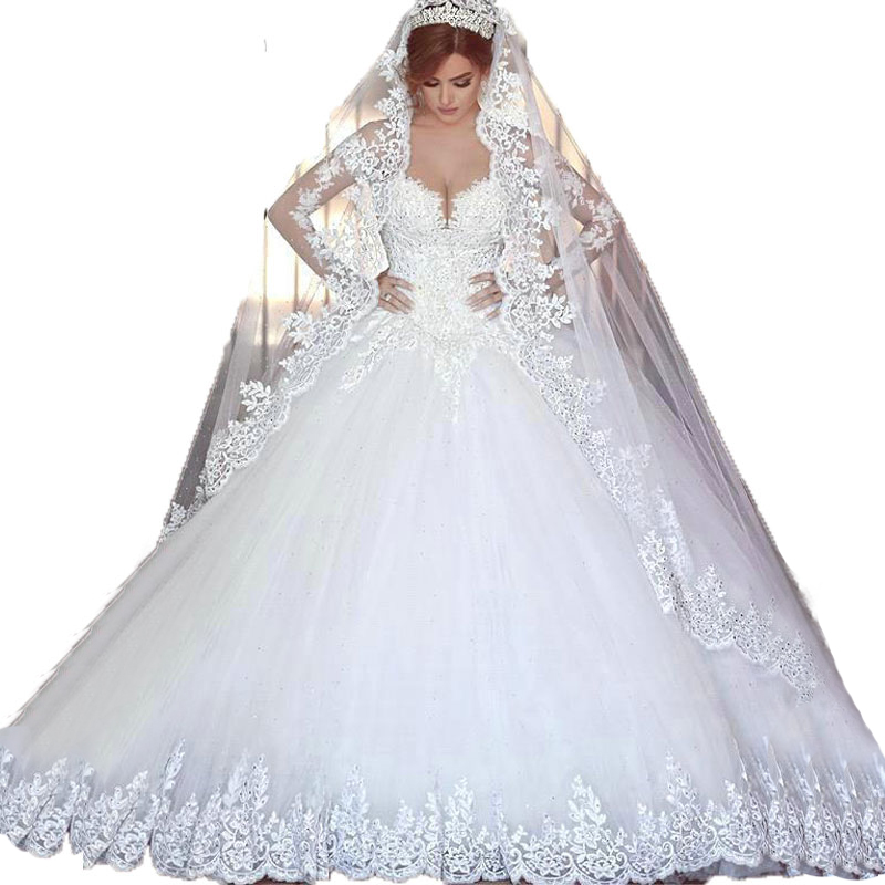 E MARRY Romantic 2016 Long Sleeves Wedding Dresses Ball Gown ...
