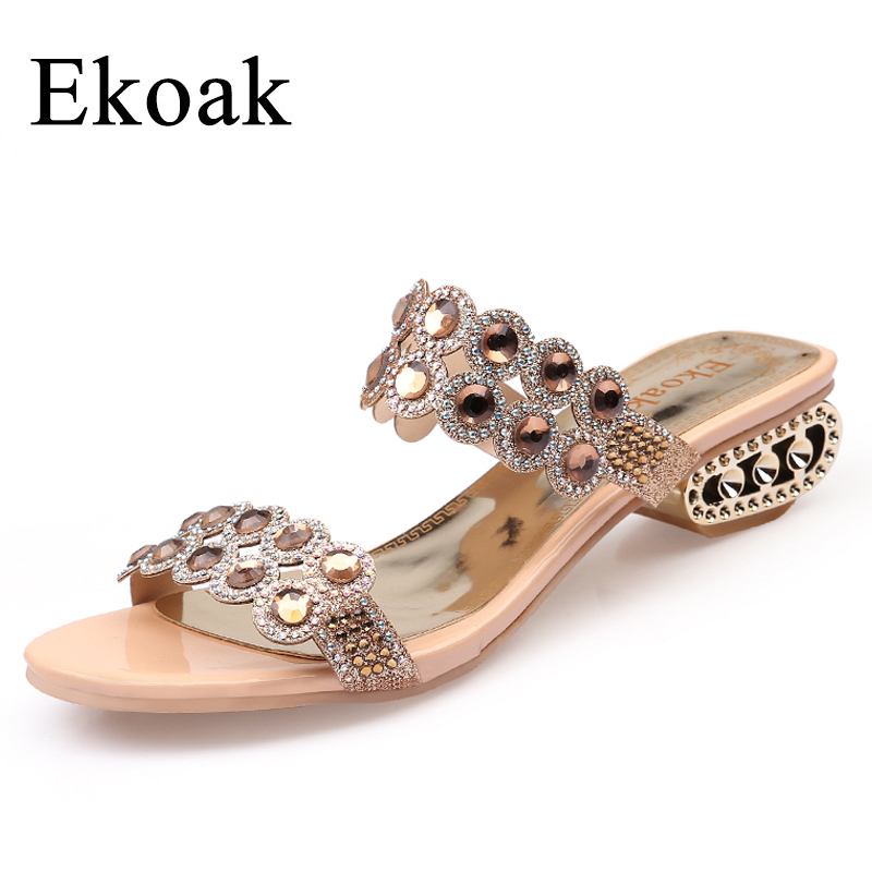 Ekoak Size 36-43 New 2017 Fashion Party Shoes Woman Summer Rhinestone Cut-outs Medium Heel Sandals Ladies Sexy Open Toe shoes capputine new summer sandals woman shoes 2017 fashion african casual sandals for ladies free shipping size 37 43 abs1115