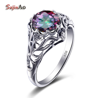 Szjinao Fashion Round Design Silver 925 Jewelry Couple Rings Bachelorette Party Mystic Topaz Silver Rings Female