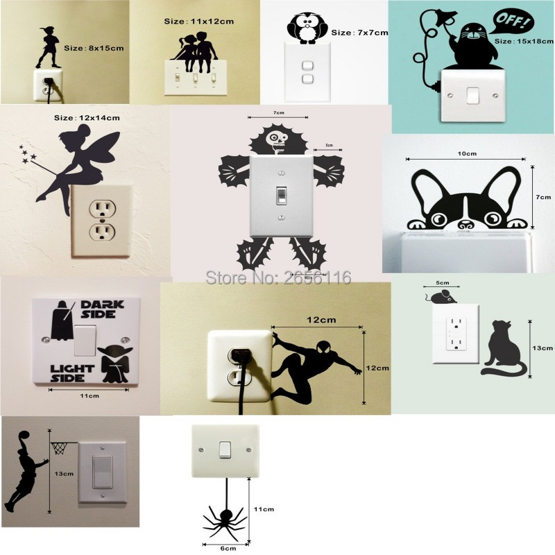 12 Styles Cute Switch Wall Stickers Diverse Funny Animals Patterns Vinyl Decals Home Decoration