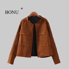 BONU Europen Plus Size Autumn Suede Jacket Women Open Stitch bomber jacket Slim Solid Basic Coat Women Loosen Coat Jacket