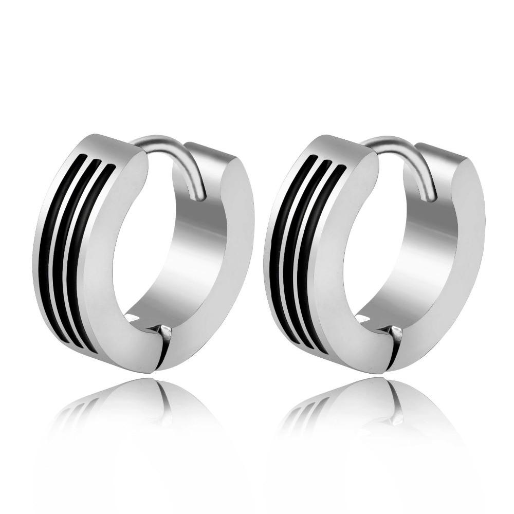 vendimia Punk Stainless Steel Huggie Hoop Earrings Simple Style Black Pattern Silver Color Circle Earring for Women Man Jewelry
