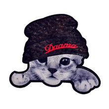 1PCS Big Cute Cat Sequins Fabric Patch Embroidered Iron on Patches For Clothing DIY Decoration Clothes Stickers Applique Badge