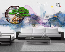 beibehang Custom fashion papel de parede wallpaper new Chinese artistic conception abstract ink landscape living room background