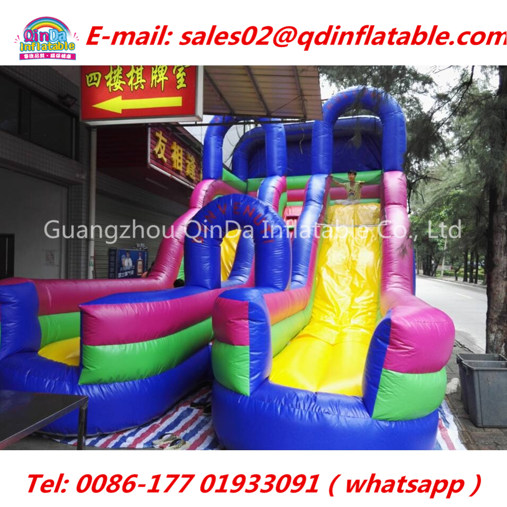 8.3m*4.6m*5.1m Stock inflatable slide from china ,pvc bouncy slide with free air blower commercial sea inflatable blue water slide with pool and arch for kids