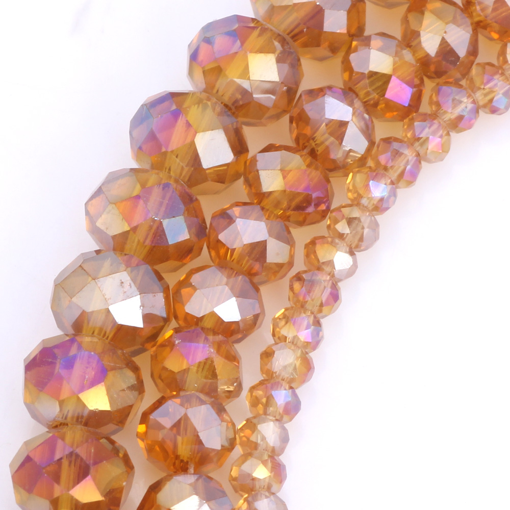 OlingArt 3 4 6 8 10mm Round Glass Beads Rondelle Austria faceted crystal Camel AB color Loose bead DIY Jewelry Making in Beads from Jewelry Accessories