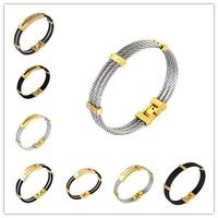 Wholesale Retail Fashion Jewelry 316LStainless Steel Silver Gold Black Tone Wire Cable Twisted Chain Mens Womens