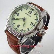 44mm Luz verde dial esfera luminosa 6497 mano sinuoso movimiento reloj para hombre
