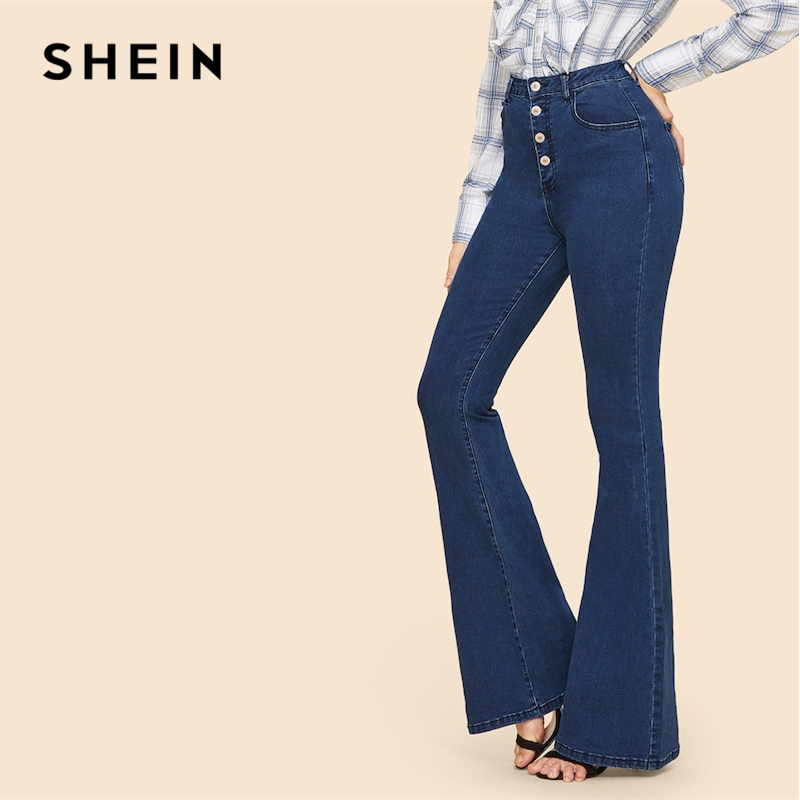 SHEIN Vintage Blue Button Up Flare Hem Mid Waist Stretchy Jeans Women Office Lady Minimalist 2019 Spring Fashion Solid Trousers