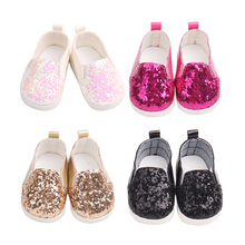18 inch Girls doll shoes Shiny flats dress shoes PU American newborn shoe Baby toys fit 43 cm baby dolls s164-s167 18 inch girls doll shoes winter woolen slippers casual shoe american newborn accessories baby toys fit 43 cm baby dolls s129