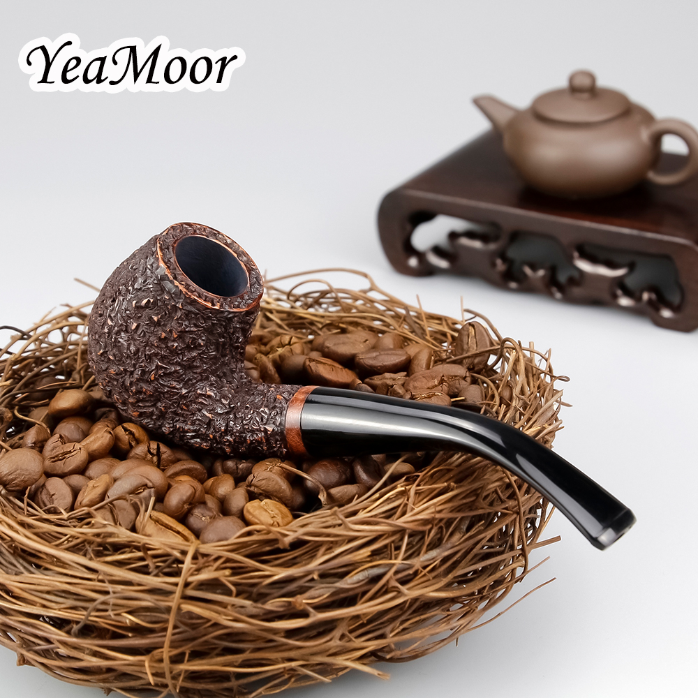 Classic Carven Smoking Pipe Handmade 9mm Filter Briar Wood Pipe Bent Carved Smoking Tobacco Pipe 20 filters 50 cleaners free in Shisha Pipes Accessories from Home Garden