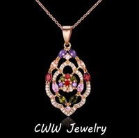 New Mona Lisa Design 18K Gold Plated Colorful Cubic Zirconia Crystal Vintage CZ Pendant Necklace For