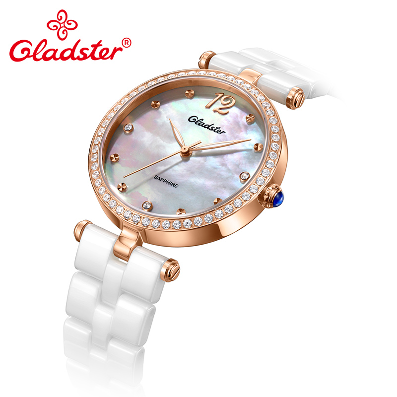 Gladster Ceramics Strap Golden Women Quartz Watch Shell Dial Lady Dress Wristwatch - 4