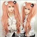 Высокое качество девушки 80 см длинными вьющимися манга супер Danganronpa 2 косплей юнко эносима парик Dangan Ronpa аниме хэллоуин , потому парик