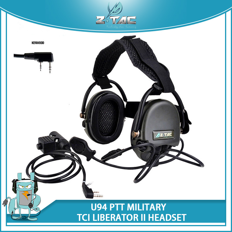Z-TAC Airsoft Headset TCI LIBERATOR II Neckband Headset Z039 With Tactical Headphones Softair U94 PTT Z113 FOR WARGAME
