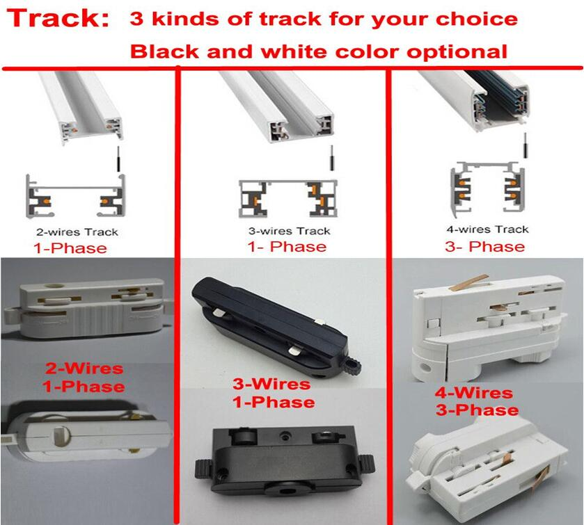 3 wires 1 phase LED Track Light Rail Track Lighting Fixture Rail For ...