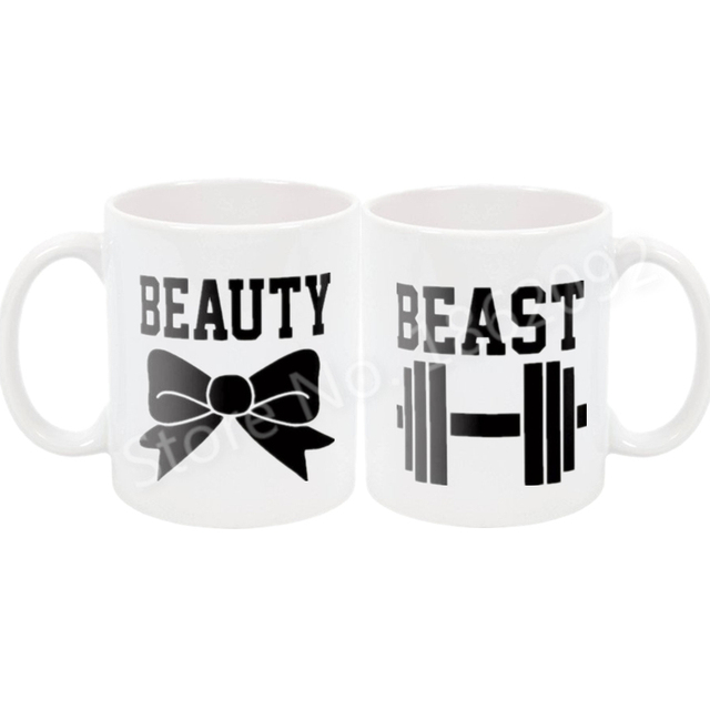Funny Beauty and Beast Mug Set Humor His Her Couple Coffee Mugs Tea Beer Cups Joke Gym Training Bowtie Dumbbell Wedding Gifts