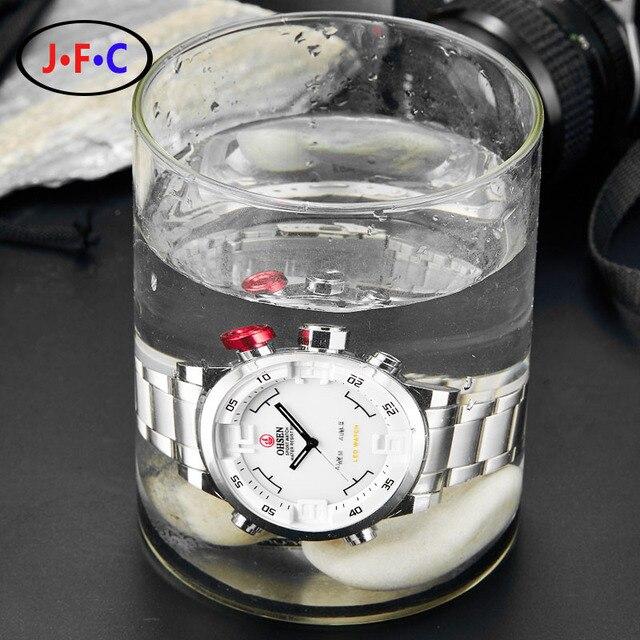 2016 Men Watches OHSEN Watch Men's Luxury Brand Full Steel Quartz Clock Digital LED Watch Army Military Sport Watch