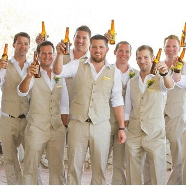 2017 Autumn Spring Groom Wear Beach Wedding Men Suits Waistcoat And Pants New