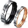 "1 piece Stainless Steel Love ""I Will Always Be with You"" Couples Promise Rings Mens Ladies Engagement Rings With Crystal"