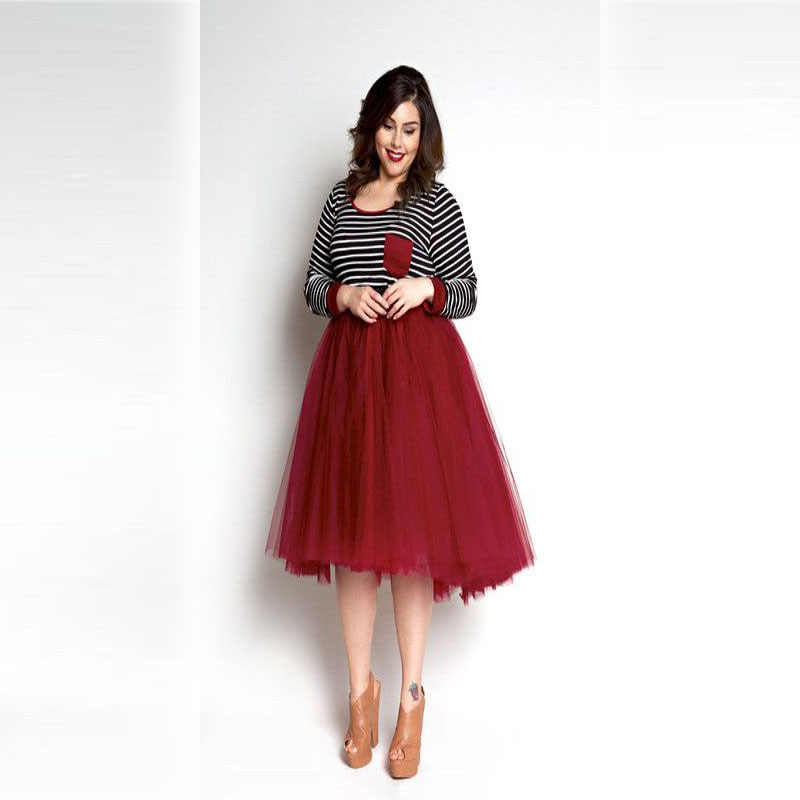 08041a83ff ... Red Tulle Skirt Plus Size Skirts Women A Line Knee Length Tutu Skirt  2016 Hot Sale ...