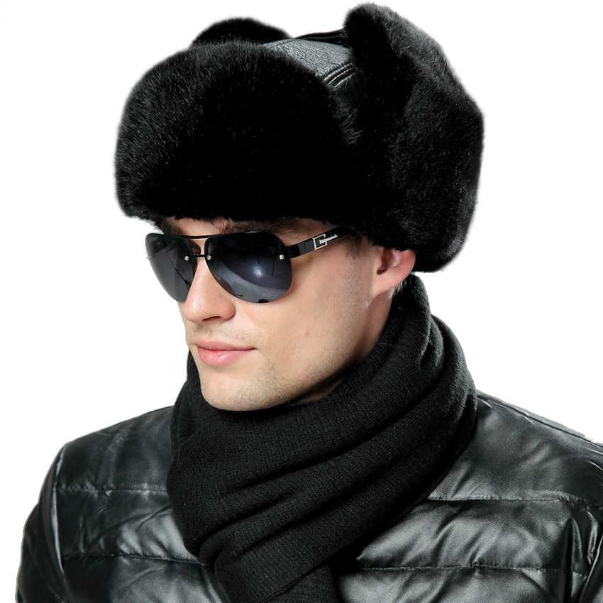 ca213287c50 Winter Faux Fox Fur Russian Ushanka Men PU Leather Bomber Hats Vintage  Pilot Aviator Trapper Trooper