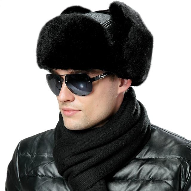 Winter Faux Fox Fur Russian Ushanka Men PU Leather Bomber Hats Vintage  Pilot Aviator Trapper Trooper Women Thick Plush Snow Caps 2ded6094c85