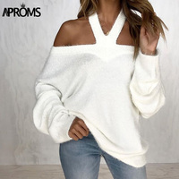 Aproms Elegant Off Shoulder Knitted Pullover Female Winter White Stretch Knit Crochet Sweaters Women Autumn Jumper Pull Tops