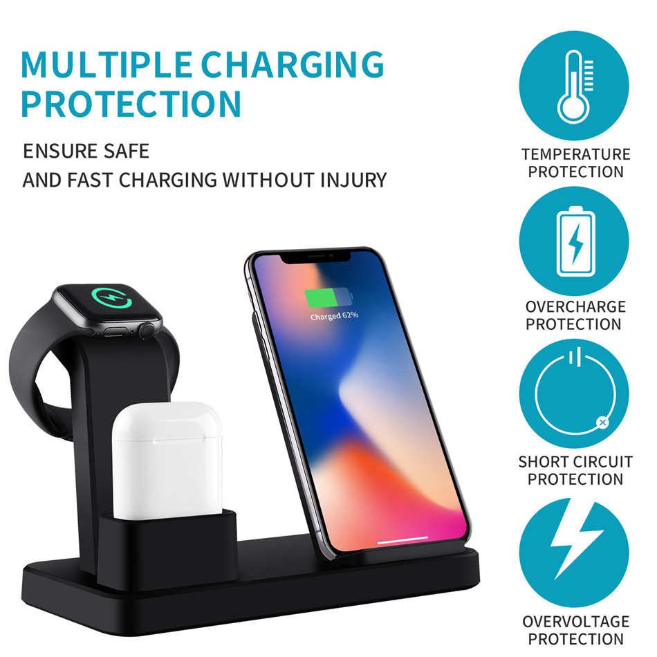 For apple watch charger 3 In 1 Charging Dock Station Bracket Cradle Stand phone holder  For IPhone XR X 8 7 6 Wireless QI Dock   (4)