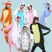 L G Dinosaur Unicorn Stitch Winter Pajamas For Women Men Warm Flannel Adult Home Wear Lounge