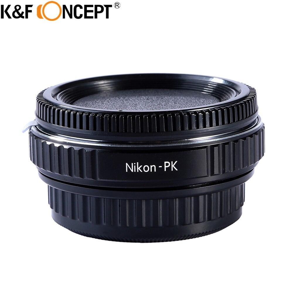 Adaptateur pour objectif K & F CONCEPT pour objectif Nikon compatible avec le boîtier de caméra à monture Pentax K PK avec mise au point infinie