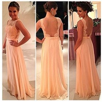 Free Shipping High Quality Nude Back Chiffon Lace Long Prom Dress Peach Color Bridesmaid Dress Brides