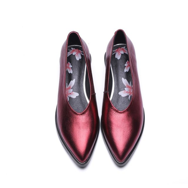 ALLBITEFO Low-Heeled Genuine Leather Pointed Toe Pumps