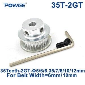 POWGE 35 зубья 2GT зубчатый шкив отверстие 5/6/6. 35/7/8/10/12 мм для GT2 открытая синхронная Ширина ремня 6/10 мм Маленькая люфт 35 зубьев 35 T