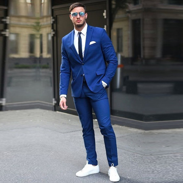 Custom made Two Buttons Royal Blue Men Suit 2017 Fashion