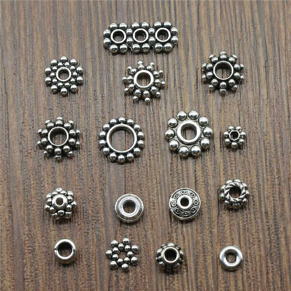 Antique Silver Color Small Spacer Beads Charm Pendants For Jewelry Making Small Spacer Beads Charm