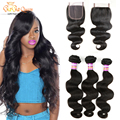 Peruvian Virgin Hair With Closure 7A Unprocessed Lace Closure With Bundles Human Hair Weave Peruvian Body Wave With Closure