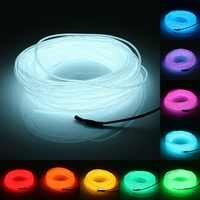Neon przewód Led EL drutu String elastyczna taśma LED, jasna rura linowa samochodu Dance Party 2M 3M 5M zasilany z baterii z kontroler led rgb