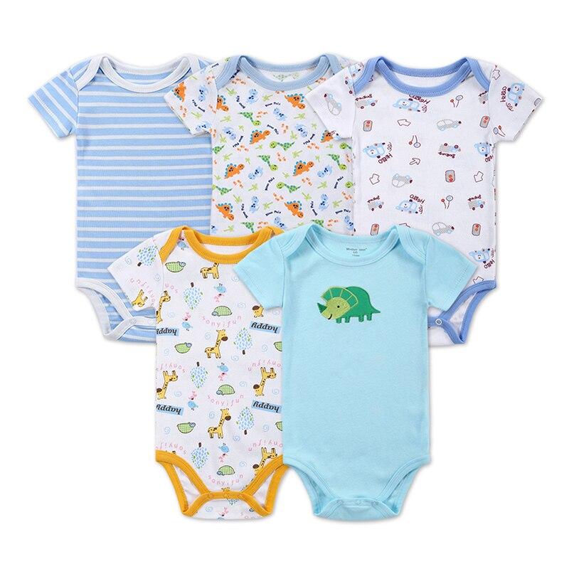 Newborn Baby Bodysuit 5 Pieces/lot Baby Print Bodysuit Similar Cartes Baby Girl Clothes Short Sleeve Body Suit Infant Clothing