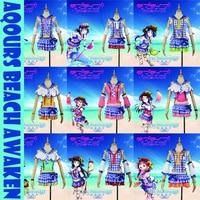 2017 New!Anime Love live!Sunshine!Aqours Beach Awaken All 9 figures Ruby Chika Dia Uniform Halloween Cosplay costume for women