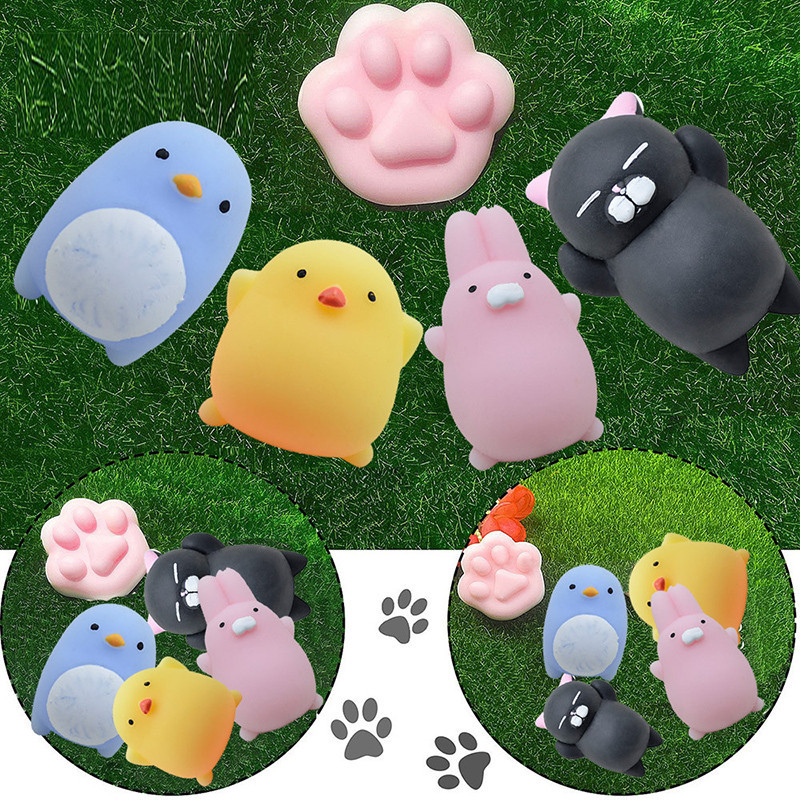 Cute Mochi Squishy Cat Squeeze Healing Fun Kawaii Stress Reliever Decor Decompression Fun Toys For Child Adult Attention