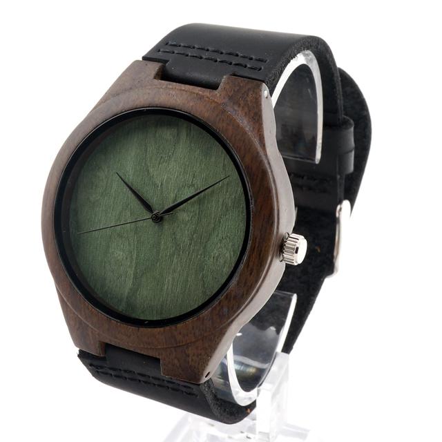 Bobo bird f04 naturalmente minimalismo simplicidade de bambu de madeira de luxo relógios para Os Homens Relógio de Quartzo de Couro na Caixa de Presente como Mens presente