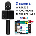 Q7 Pro Black Wireless mini Microphone Karaoke player Party home KTV Singing Record Q7 Bluetooth Speaker For IPhone Android