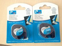 2pcs Black on blue compatible dymo label tapes Plastic Tapes For DYMO LetraTag 91205 Series Printers 12mm*4m