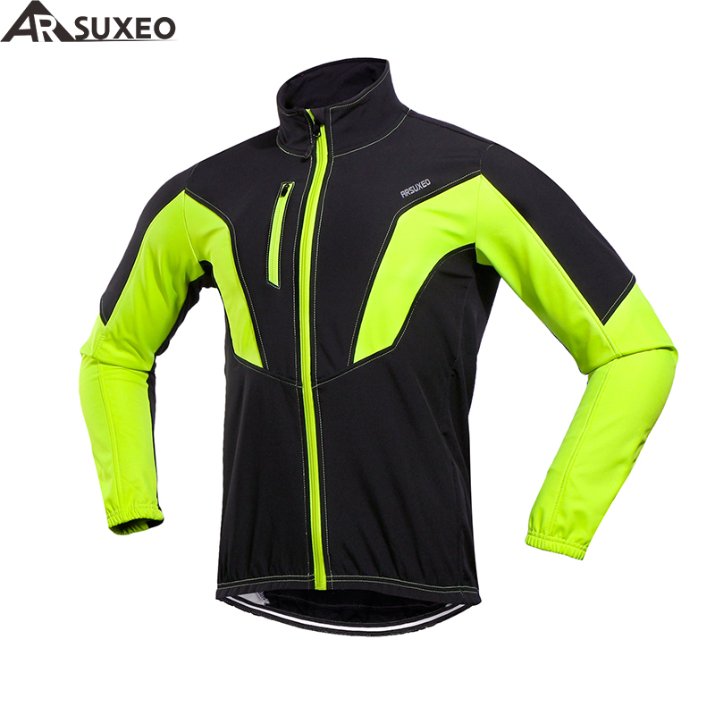 цена ARSUXEO 2018 Cycling Jacket Winter Thermal Warm Up Fleece MTB Bike Jacket Windproof Waterproof Cycling Mens Long Jackets 17N онлайн в 2017 году