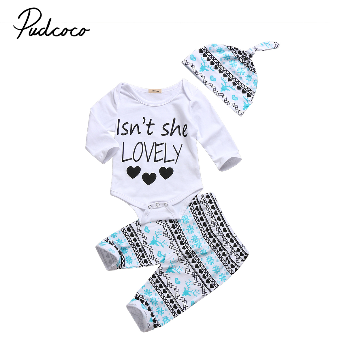 Xmas Baby Clothing Newborn Baby Boy Girl Christmas Clothes Cotton Letters Rompers Long Print Pants Hat 3pcs Outfits Set Autumn